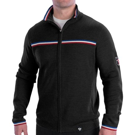 Meister Olympic Sweater - Merino Wool Blend, Full Zip (For Men) in Black/Tricolor