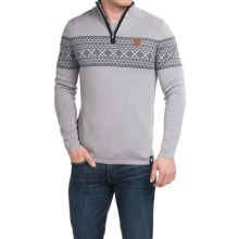 Meister Pablo Sweater - Merino Wool Blend, Zip Neck (For Men) in Pearl Grey/Deep Navy - Closeouts