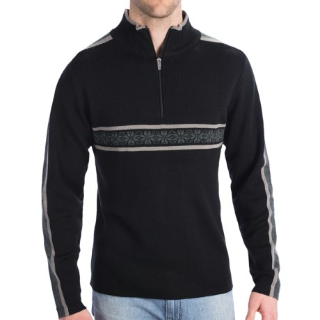 Meister Rex Jacquard Stripe Sweater (For Men) in Charcoal Heather/Black