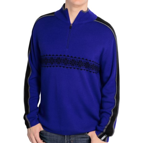 Meister Rex Jacquard Stripe Sweater (For Men) in Royalty/Black