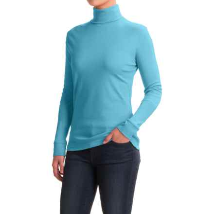 Meister Roll Neck Shirt - Combed Cotton, Long Sleeve (For Women) in Robin Heather - Closeouts