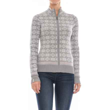 Meister Rose Sweater - Full Zip (For Women) in Pearl Gray/White/Sorbet - Closeouts
