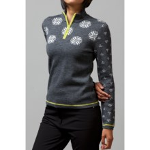 Meister Sonia Sweater - Wool Blend, Zip Neck (For Women) in Charcoal Heather/Lime - Closeouts