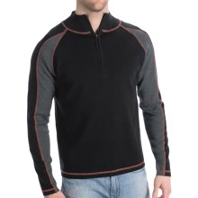 Meister Trey Sweater - Stretch Wool, Zip Neck (For Men) in Black/Charcoal/Red - Closeouts