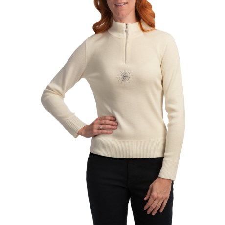 Meister Twinkle Sweater - Wool Blend, Zip Neck (For Women) in Winter White