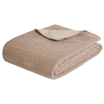 Melange Home Australian Merino Wool Blanket - King, Reversible in Ivory/Oatmeal - Closeouts
