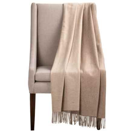 "Melange Home Australian Merino Wool Throw Blanket - 50x70"", Reversible in Ivory/Oatmeal - Closeouts"