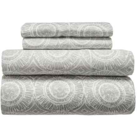 Melange Home Block Medallion Cotton Sheet Set - King, 400 TC in Ligth Grey - Closeouts