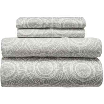 Melange Home Block Medallion Cotton Sheet Set - Queen, 400 TC in Ligth Grey - Closeouts