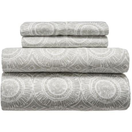 Melange Home Block Medallion Cotton Sheet Set - Queen, 400 TC in Ligth Grey