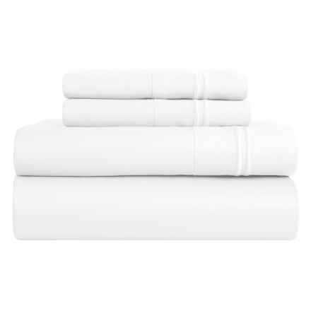 Melange Home Border-Stripe Sheet Set - King, 600 TC in White - Closeouts