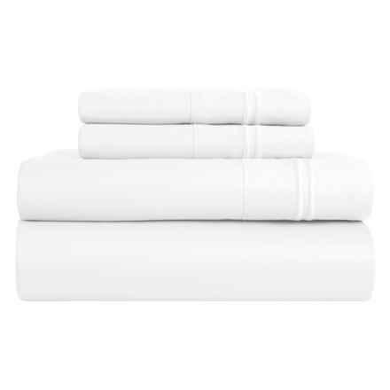 Melange Home Border-Stripe Sheet Set - Queen, 600 TC in White - Closeouts
