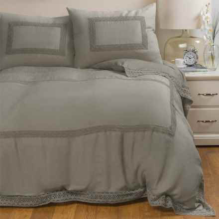 Melange Home Catherine Linen Duvet Set - Full-Queen in Grey Storm Grey - Closeouts