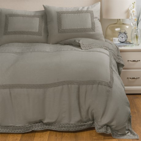 Melange Home Catherine Linen Duvet Set - Full-Queen in Grey Storm Grey