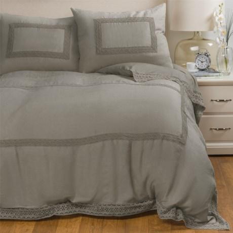 Melange Home Catherine Linen Duvet Set - King in Grey Storm Grey