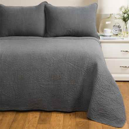 Melange Home Crazy Triangle Quilt Set - Full-Queen in Charcoal - Closeouts