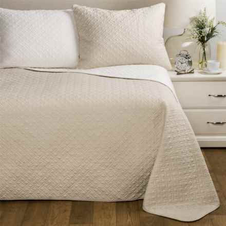 Melange Home Cross Box Reversible Quilt Set - Full-Queen in Linen/Natural - Closeouts