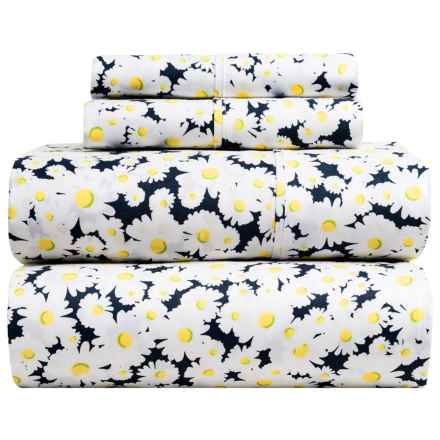 Melange Home Daisy Print Sheet Set - King, 400 TC, Cotton Sateen in Multi - Closeouts