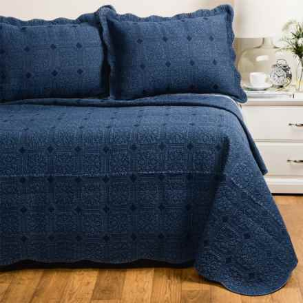 Melange Home Denim Diamond Quilt Set - Full-Queen in Indigo Blue - Closeouts