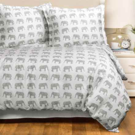 Melange Home Elephant Print Duvet Cover Set - Full-Queen, 400 TC, Cotton Sateen in Grey - Closeouts