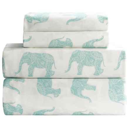 Melange Home Elephant Print Sheet Set - King, 400 TC Cotton Sateen in Aqua - Closeouts
