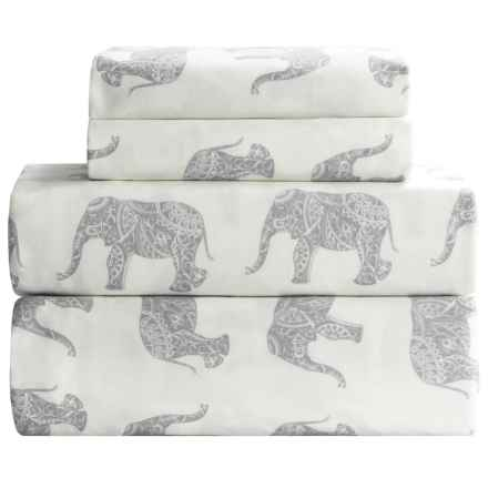 Melange Home Elephant Print Sheet Set - Queen, 400 TC Cotton Sateen in Grey - Closeouts