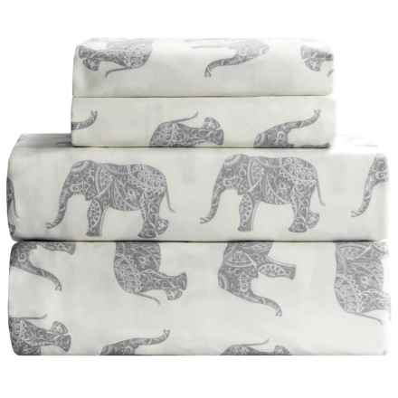 Melange Home Elephant Print Sheet Set - Twin, 400 TC Cotton Sateen in Grey - Closeouts