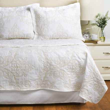 Melange Home Embroidered Victoria Quilt Set - Full-Queen in White/Beige - Closeouts