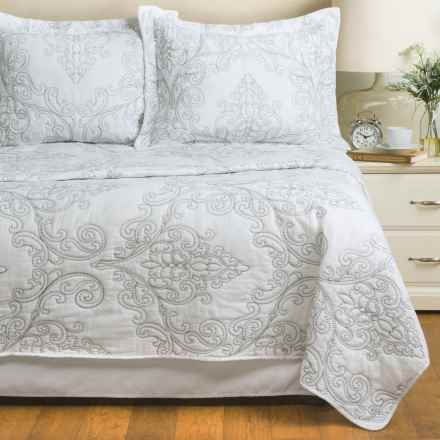 Melange Home Embroidered Victoria Quilt Set - Full-Queen in White/Grey - Closeouts