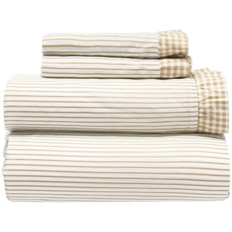 Melange Home Gingham Ruffle Sheet Set - Full, 300 TC in Natural Wheat