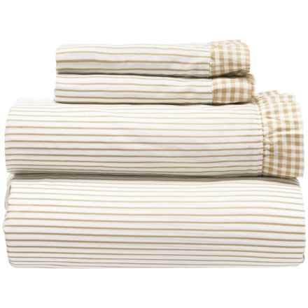 Melange Home Gingham Ruffle Sheet Set - King, 300 TC in Natural Wheat - Closeouts