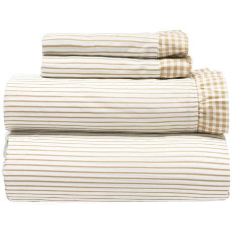 Melange Home Gingham Ruffle Sheet Set - Queen, 300 TC in Natural Wheat