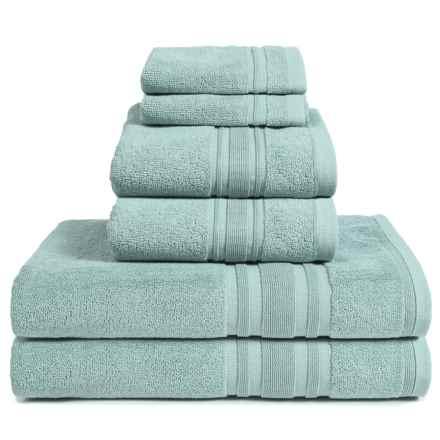 Melange Home Haute Monde Bath Towel Set - Turkish Cotton, 6-Piece in Celestial Blue - Closeouts