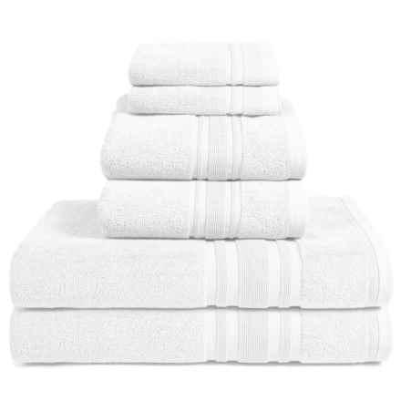 Melange Home Haute Monde Bath Towel Set - Turkish Cotton, 6-Piece in White - Closeouts