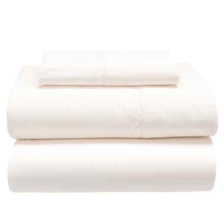 Melange Home Hemstitch Cotton Sheet Set - Twin, 600 TC in White - Closeouts
