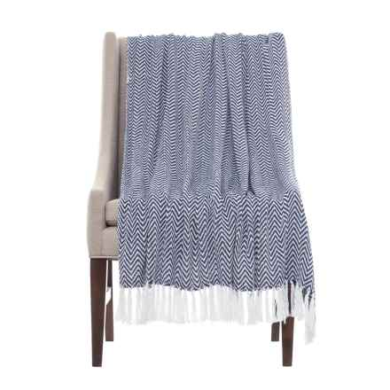 "Melange Home Herringbone Throw Blanket - 50x70"" in Navy - Closeouts"
