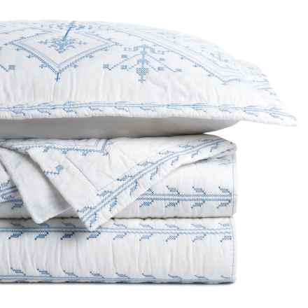 Melange Home Jackson Embroidered Quilt Set - Full-Queen in Navy/White - Closeouts