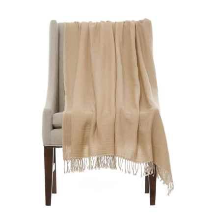 "Melange Home Lightweight Throw Blanket - 50x70"", Merino Wool in Natural/ Linen - Closeouts"