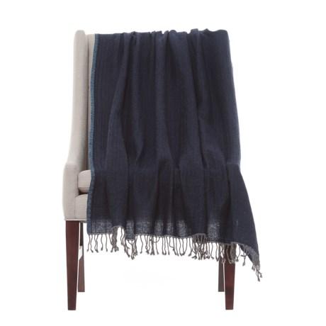 "Melange Home Lightweight Throw Blanket - 50x70"", Merino Wool in Navy/ Chambray Blue"