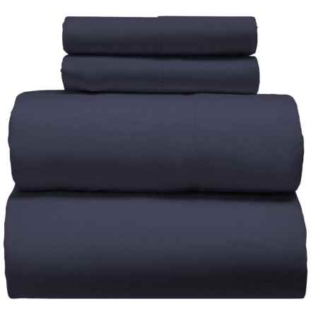 Melange Home Linen-Cotton Sheet Set - Full in True Navy - Closeouts