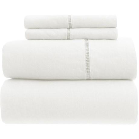 Melange Home Linen Ladder Hem Sheet Set - Full in White