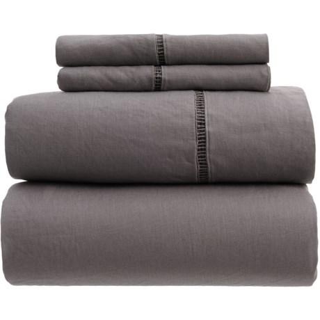 Melange Home Linen Ladder Hem Sheet Set - King in Dark Grey