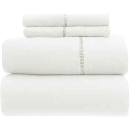 Melange Home Linen Ladder Hem Sheet Set - King in White - Closeouts