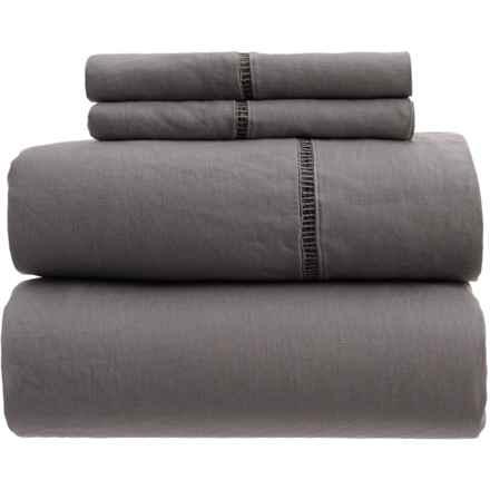 Melange Home Linen Ladder Hem Sheet Set - Queen in Dark Grey - Closeouts