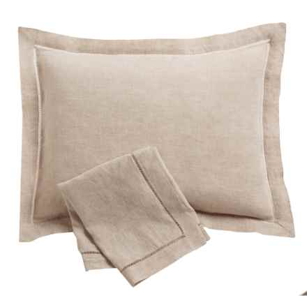 Melange Home Linen Ladder Hemstitch Pillow Shams - Standard, Pair in Natural - Overstock