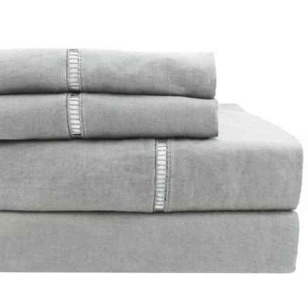 Melange Home Linen Ladder Hemstitch Sheet Set - Queen in Grey - Overstock