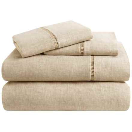 Melange Home Linen Ladder Hemstitch Sheet Set - Queen in Natural - Overstock