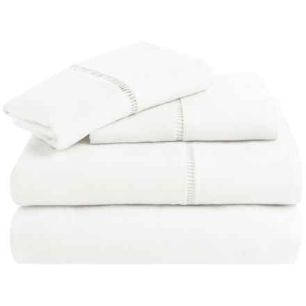 Melange Home Linen Ladder Hemstitch Sheet Set - Queen in White - Overstock