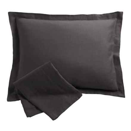 Melange Home Linen Plain Hem Pillow Shams - Standard, Pair in Dark Grey - Overstock