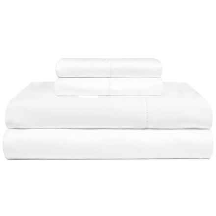 Melange Home Long-Staple Hemstitch Sheet Set - Queen, 600 TC in White - Closeouts